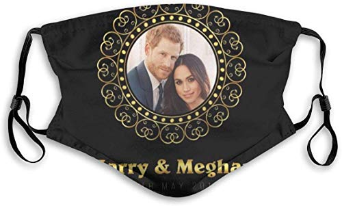 Decoraciones faciales marco dorado Harry y Meghan Royal Wedding Unisex Mouth-Muffle Cara Bufanda boca cubierta