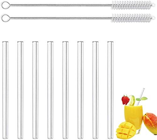 LessMo 8 Pezzi 15cm Cannucce in Vetro Riutilizzabili - LFGB Certificate Cannucce in Vetro Trasparente con 2 Spazzole per la Pulizia, Antideflagranti, Ecologiche, Senza BPA, per Cocktail
