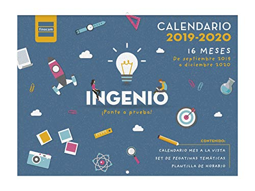Calendario de pared 16 meses 2019-2020 español Ingenio Finocam