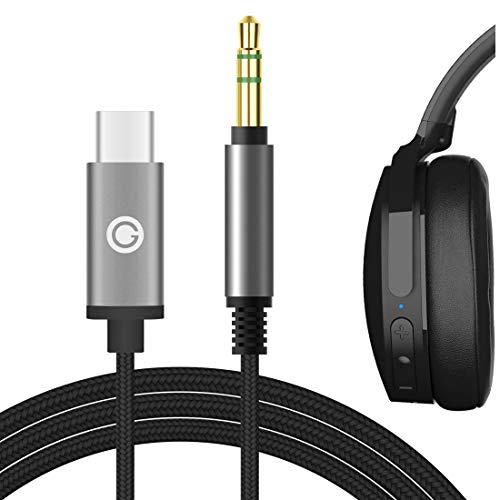 Geekria Apollo Cable de audio USB-C para Skulcandy HESH 3, HESH 2, molienda, local, trituradora, machacadora inalámbrica, auriculares de aviador, cable estéreo de repuesto tipo C (negro, 1.7M)