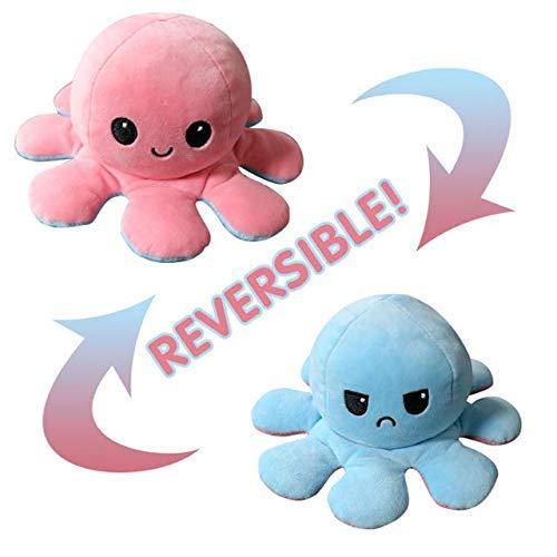 KUNSTIFY Plüschtier Oktopus Stimmungs Oktopus Kuscheltier Octopus plüschtier für Mädchen, für Frauen, für Kinder und die Ihre Laune ausdrücken wollen Geschenk für Freundin (pink/hellblau)