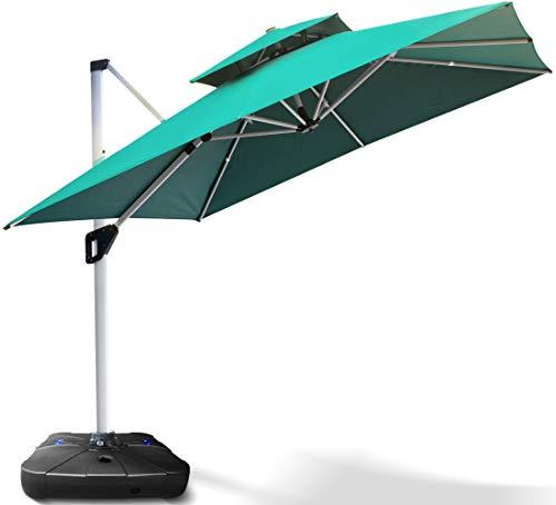Project One 10ft Patio Umbrella Square Outdoor Umbrella Large Cantilever Umbrella Windproof Offset Umbrella Heavy Duty Sun Umbrella for Garden Deck Pool Patio (Green)