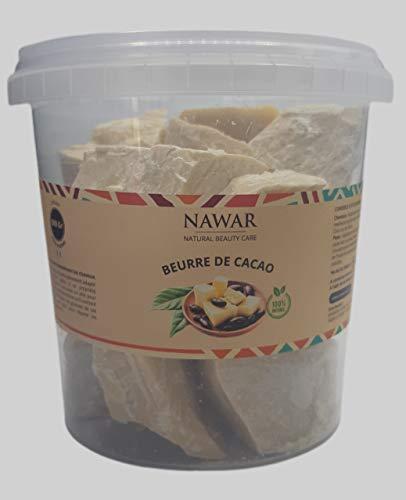 Beurre de Cacao BRUT- NAWAR- 500 g, non décoloré,non désodorisé 100% naturel, origine Côte divoire non raffiné
