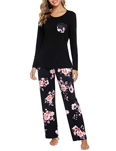 Aibrou Damska dwuczęściowa piżama, zestaw piżamowy, miękka bielizna nocna, strój domowy, sukienka z długim rękawem, okrągły dekolt i nadruk, piżama
