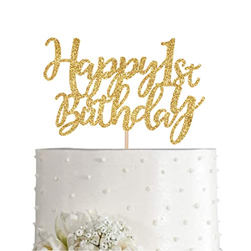 Gold Glitter Happy 1st birthday cake topper, Gold 1 years old birthday party decorations, girl or boy birthday cake toppers