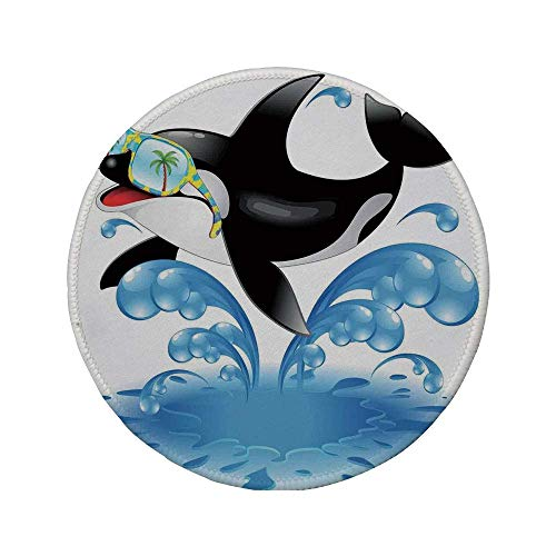 Rutschfreies Gummi-rundes Mauspad lustiger Sommerferien-Ozean-niedlicher springender Killerwal mit Sonnenbrille Cartoon Animal Love Schwarzblau 7.9