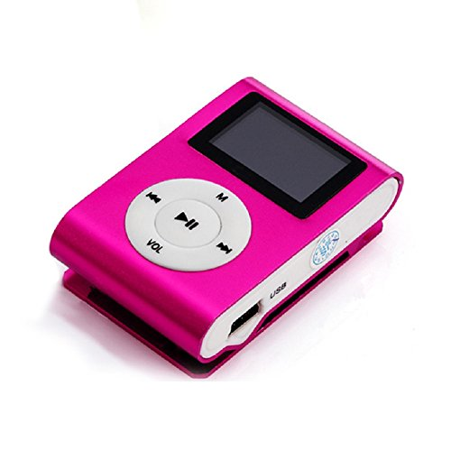 Price comparison product image Sannysis Mini USB Clip MP3 Player LCD Screen Support 32GB Micro SD TF Card (Hot Pink)