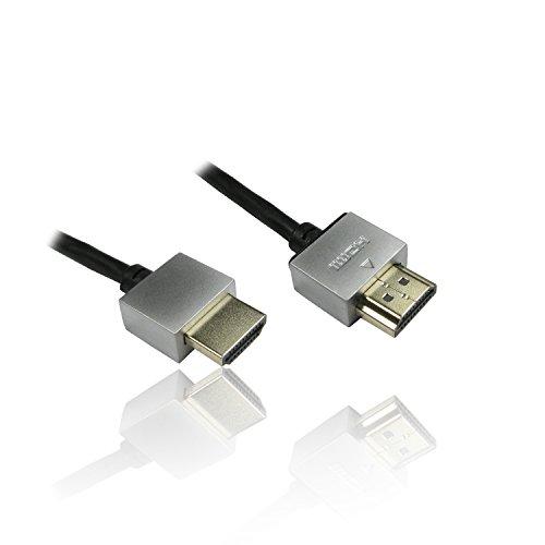Cable HDMI con ethernet de CDL Micro, 0.5 m, 304 cm, Muy Delgado y Flexible, Negro (Meters 0.5, Conector Tipo hdmihdmi)