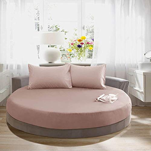 Heguowei Fundas de colchón de algodón Redondo de diámetro Ajustable 200 cm * 220 cm Protector de colchón Funda de Cama Funda de colchón Transpirable