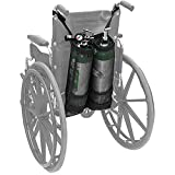 Doppio supporto per bombola di ossigeno, doppia borsa per bombola di ossigeno per sedie a rotelle (bombole D ed E) con bella tasca portaoggetti in rete per supporto per bombola di ossigeno per cammi