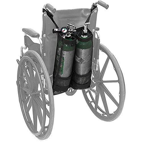 N \ A Doppelte Sauerstoffflaschenhalterung, doppelte Sauerstoffflaschenbeutel für Rollstühle (D & E-Flaschen) mit schöner Netzaufbewahrungstasche für Rollstuhlfahrer-Sauerstofftankhalter