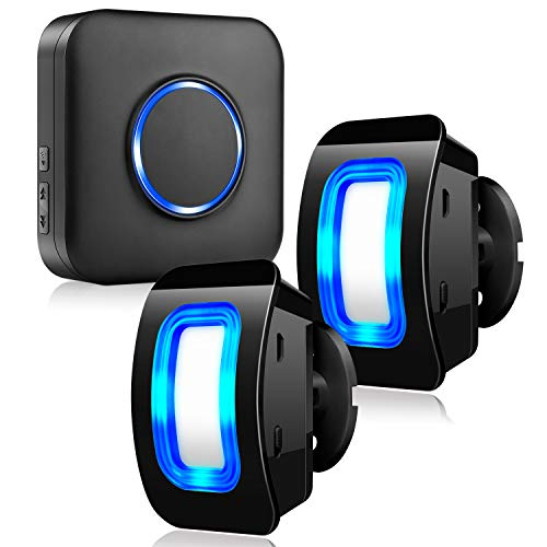 Kabellose Haussicherheits Alarmanlage mit Bewegungsmelder-Alarm Detektor, 2 Bewegungsmelder und 1 Steckempfänger, 58 Glockentöne, LED-Anzeigen, für Familie, Haus und Geschäft, Garage