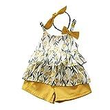 YWLINK 3PC Mezcla De Algodon Ropa De NiñOs Top Camisola Estampado TulipáN Camiseta+Pantalones Cortos De Color SóLido+Banda De Pelo Vestido De Fiesta(Amarillo,18-24Meses/100)