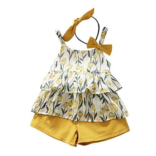 YWLINK 3PC Mezcla De Algodon Ropa De NiñOs Top Camisola Estampado TulipáN Camiseta+Pantalones Cortos De Color SóLido+Banda De Pelo Vestido De Fiesta(Amarillo,5-6 años/140)
