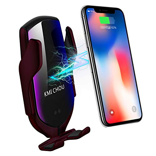 KMI CHOU R2 Wireless Car Charger,Automatic Clamping IR Intelligent Wireless Car Charger Mount - Car Charger Holder 10W Fast Charging for iPhone Xs Max/XR/X/8/8Plus Samsung S10/S9/S8/Note 8(Rose Gold)