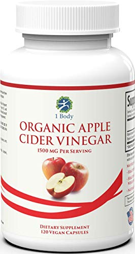 Organic Apple Cider Vinegar Pills – Bloating Relief and Dietary Supplement – Curbs Cravings for Women and Men – May Assist with Detox Cleanse and Healthy Digestion – 1500 mg - 120 caps