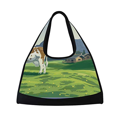 Bennigiry Funny Milk Kuh Fitness Gym Bag, Sport Duffle Bag Training Handbag Große Reise Schultertasche Tasche Tennis Badminton Schläger Tasche für Herren Damen