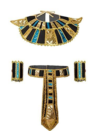 Agoky Disfraz de Princesa Egipcia Cleopatra para Hombres y Mujeres Cosplay Traje de Faraón Egipcio Vestido Collar + Cinturón + Puños Disfraz para Fiesta Carnaval Halloween Multi One Size