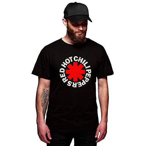 Red Hot Chili Peppers Distressed Black Cotton T-Shirt L