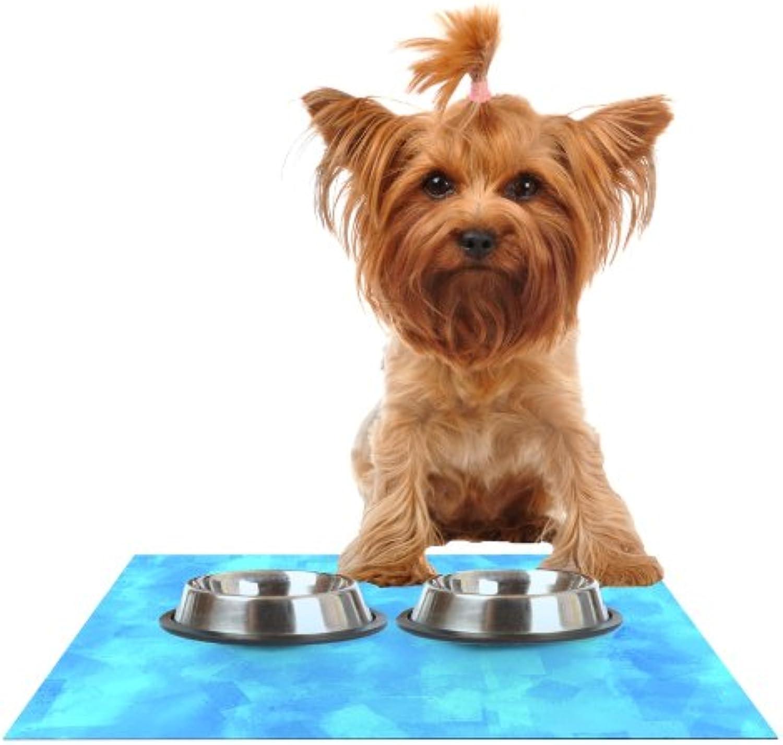 Kess InHouse CarolLynn Tice Convenience  bluee Feeding Mat for Pet Bowl, 18 by 13Inch