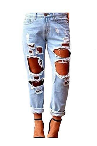 Zonsaoja Mujer Vaqueros Agujero Rotos Casual Suelto Denim Pantalones Jeans Lightblue S