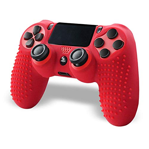 PS4 Controller, Controller Für PS4, Wireless Doubleshock Controller Kompatibel Mit Playstation 4 Controller, Silikon Hülle Anti-Rutsch (Red)