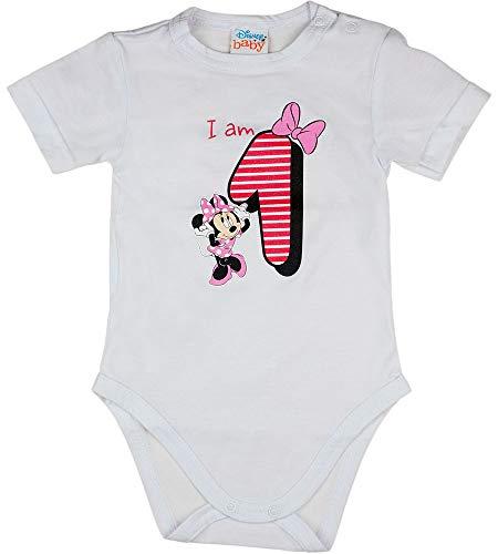 Baby Geburtstags-Body erster Geburtstag T-Shirt für Mädchen Birthday Party Outfit Minnie Mouse 1 Jahr Größe 80 86 Baumwolle DisneyWeiß Rosa Kurzarm süße Motiv (Modell 2, 80)