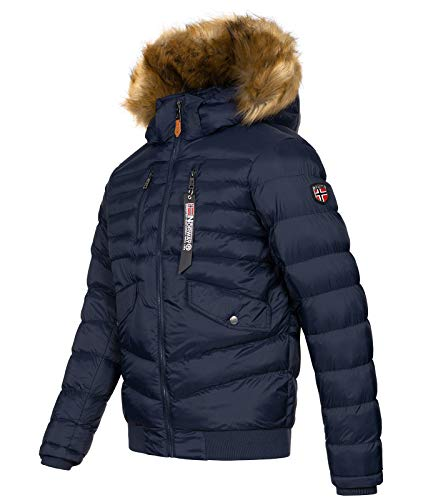 Geographical Norway H-247 Men's Winter Jacket Quilted Jacket with Faux Fur Collar - Blue - Large