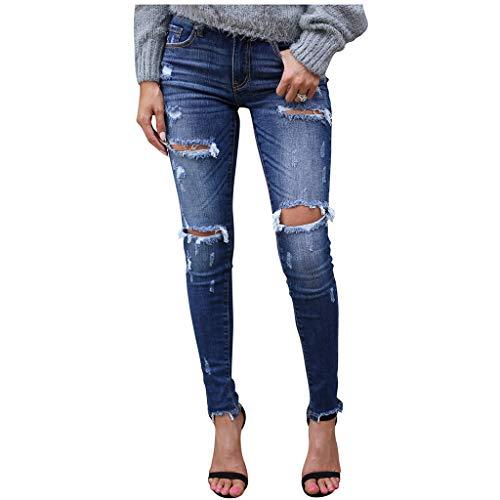 Dasongff jeans dames jeans buizenjeans skinny slim fit stretch boyfriend doorscheurde destroyed straight denim broek met gaten lange broek regular fit