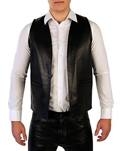 Bockle Leder Weste Vest Schwarze Lederweste für Herren Aniline Leder, Size: XXXL