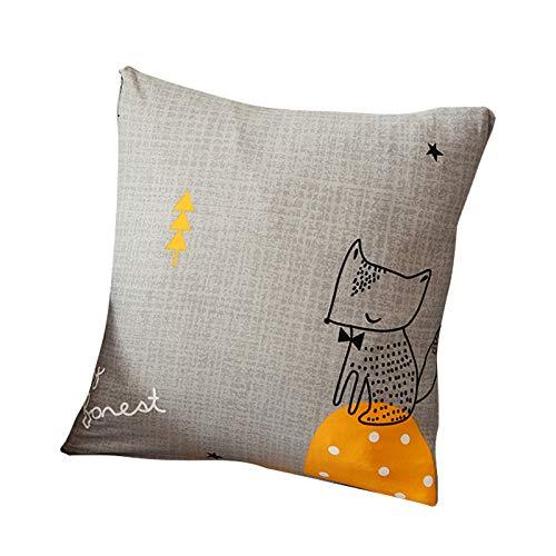 Funda para sofá con diseño moderno de 1/2/3/4 plazas, antideslizante, funda elástica para sofá y protector para mascotas, lona, zorro, 1pcs Pillowcase