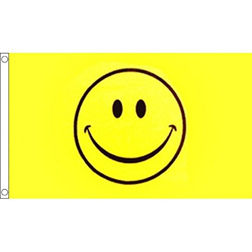 5ft x 3ft (150 x 90 cm) Smiley Happy Face Acid Yellow 100% Polyester Material Flag Banner Ideal For Pub Club Festival Business Party Decoration