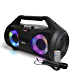 Axess Portable Bluetooth Boombox Speaker MPBT6507 25 watt RMS Power - Portable Media Speaker with Subwoofer, Stereo Sound, TWS Feature - USB, TF Card, 3.5MM AUX Outputs - FM and Microphone Input (Renewed)