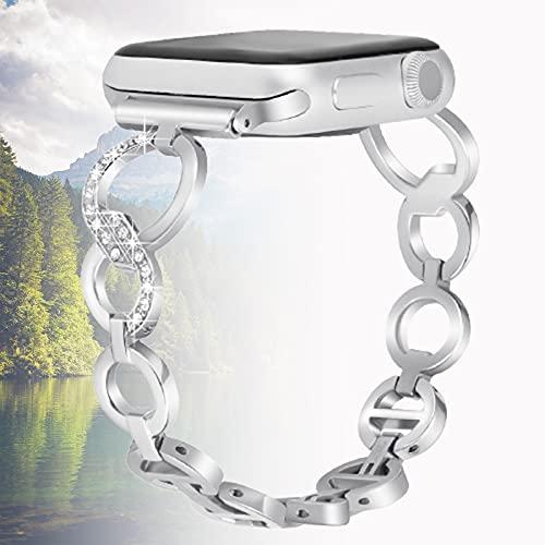 Correa de Repuesto Compatible con Apple Watch Strap 40mm 38mm, Pulsera de Cristal Brillante para iWatch Series 6 y 5/4/3/2/1, SE, Edición para Mujeres,38mm/40mm