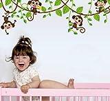 autocollant mural Mignon mini singe papier peint enfants autocollants intérieur art décoration vinyle 3D animaux plantes papier peint autocollants chambre pépinière décoration de la maison 47 * 150 cm