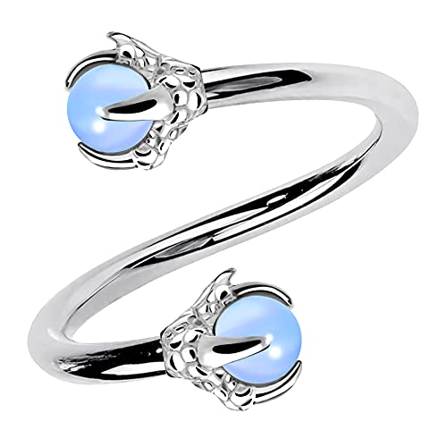 OUFER Twist Helix Earring 316L Stainless Steel Dragon Claw with Opalite Center 16G Twist Lip Labret Cartilage Upper Lobe Piercing Jewelry