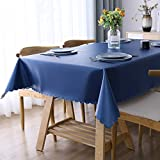 Smiry Heavy Duty Vinyl Tablecloth, Waterproof and Oil-Proof Solid Color Wipeable Table Cloth, Washable Table Cover for Indoor and Outdoor Use(60' X 84',Navy Blue)