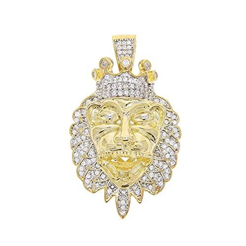YHHZW Collar Hip Hop Brillante Bling Cubic Zirconia Color Dorado Corona Lion Head Collares Pendientes para Moda Mujeres Hombres Joyería De Fiesta 46Cm