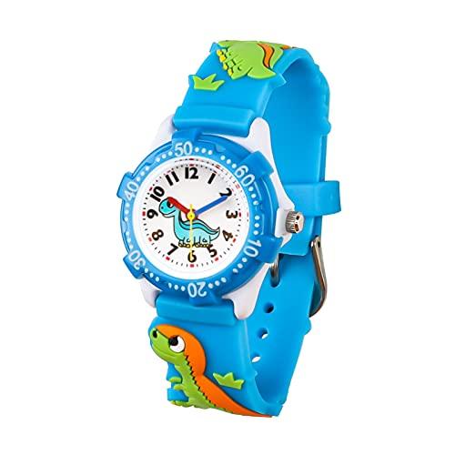 Vinmori Kinder Armbanduhr Jungen und Mädchen, wasserdichte Quarzuhr mit süßer 3D Cartoon Kinderuhr(Dinosaurier Blau)