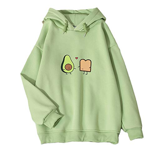 KEEVICI Cute Avocado Vegan Bread Cartoon Hoodies for Women (Green,M)