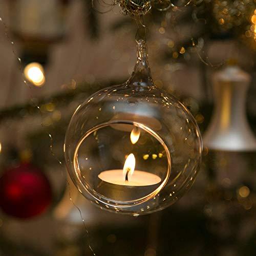 Beleuchtung für Christbäume Windlichter aus Glas 3 Stück 8cm mundgeblasen handgeformt Lauschaer Glas das Original
