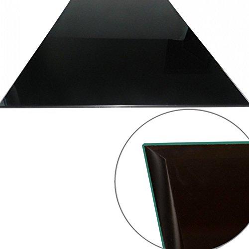 Euro Tische Glasplatte für Kaminofen - Glasscheibe mit 6mm ESG Sicherheitsglas - perfekt geeignet als Funkenschutzplatte - Verschiedene Größen (80x60cm, Schwarz)