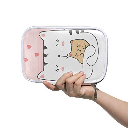 Estuche multifunción de gran capacidad para la escuela, lindo gato abrazos bebé con corazones resistente papelería lápiz bolsa cosmética bolsa bolsa para lápiz maquillaje lápiz portátil