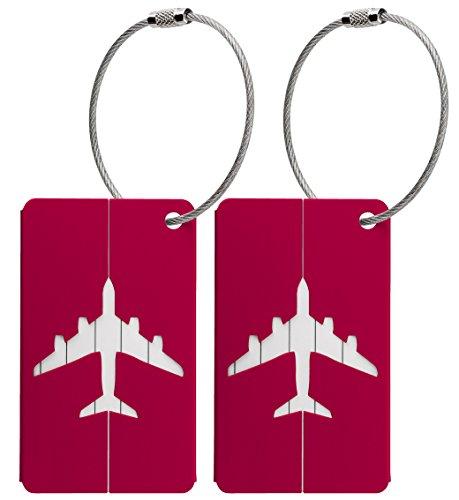 Kofferanhänger aus Metall mit Namensschild und Flug-Motiv 2 Stück (Rot metallic)