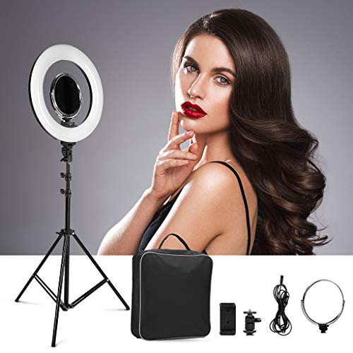 """CRAPHY Photo Studio Camera Ring Light Kit,14"""" Outer/9"""" Inner LED Lighting with Light Stand 40W Dimmable Bi-Color 3200k-5500k Hot Shoe, Cosmetic Mirror for Camera Smartphone YouTube Video Shooting"""