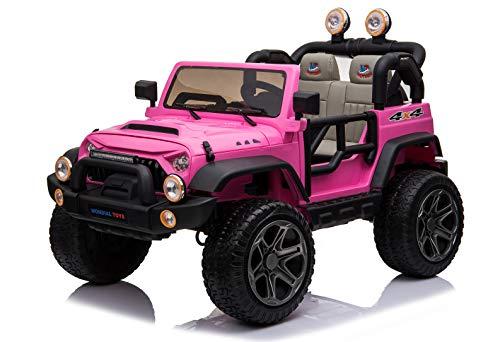 Mondial Toys Auto ELETTRICA 12V per Bambini 2 POSTI Maxi Fuoristrada con Telecomando 2.4G Soft Start AMMORTIZZATORI Ruote in Gomma Full Optional Pink MT-018