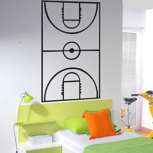 Calcomanías de pared de cancha de baloncesto calcomanías de pared de arte, diseño de diseño de cancha.Regalo de cumpleaños para un niño Bedodl un niño 2300