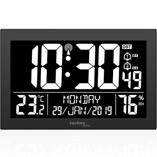 Technoline WS 8017 Funkwanduhr/Tischuhr mit Temperatur, Luftfeutchtigkeit, Datum, Tag, 2 Alarmzeiten