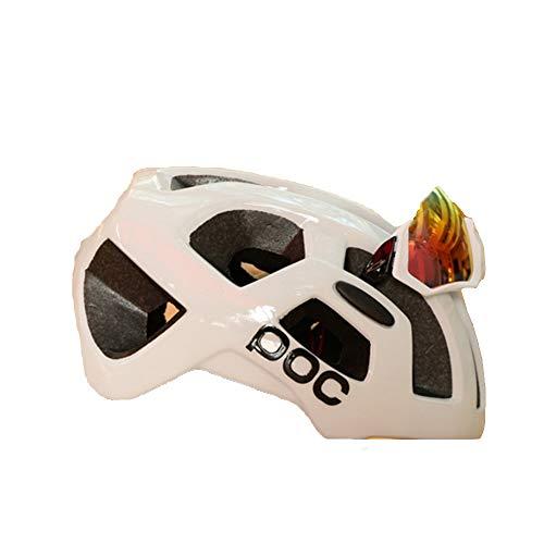 GWJ Bike Helmets, con Copertura per Casco Pneumatico Rimovibile CE Certified Adjustable Cycle Bicycle Helmet Distribuzione Occhiali per Bicicletta (Occhiali Colore Casuale),White