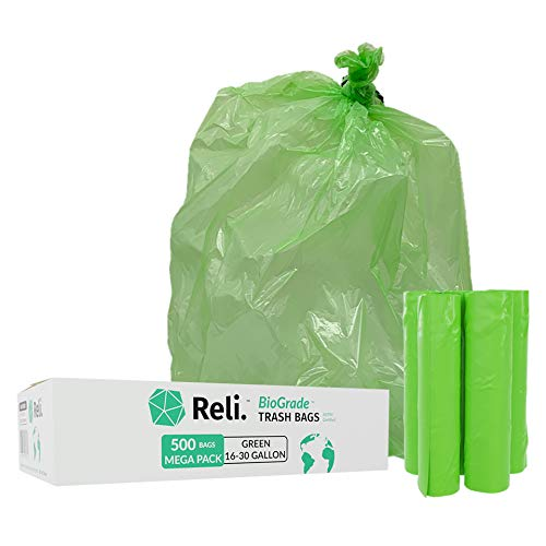 Reli. Biodegradable Trash Bags (Oxodegradable), 16-30 Gallon (Wholesale 500 Count) (Green) - Recyclable, Environmentally Friendly - Biostar Garbage Bags, Can Liners with 16 Gallon - 30 Gallon Capacity